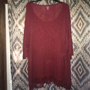 Burgundy/red tunic with crochet trim detail